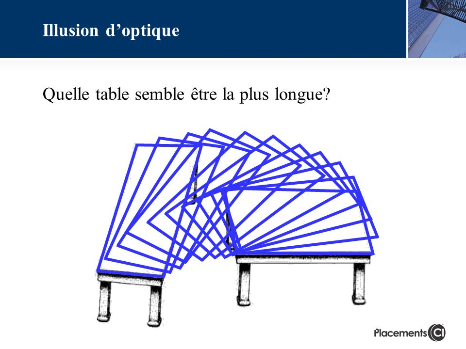 Quelle table semble être la plus longue? Illusion doptique