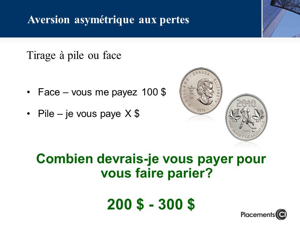 Aversion asymétrique aux pertes Tirage à pile ou face Face – vous me payez 100 $ Pile – je vous paye X $ Combien devrais-je vous payer pour vous faire parier.