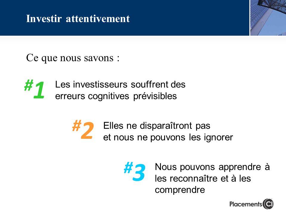 Les investisseurs souffrent des erreurs cognitives prévisibles Investir attentivement Ce que nous savons : Elles ne disparaîtront pas et nous ne pouvons les ignorer Nous pouvons apprendre à les reconnaître et à les comprendre #1#1 #2#2 #3#3