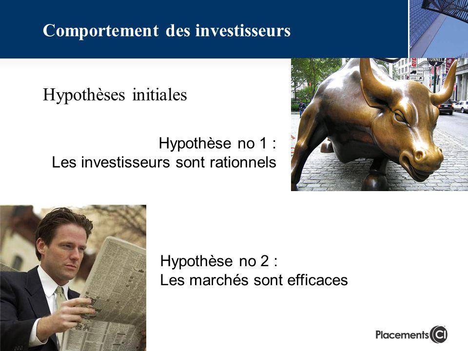 Hypothèse no 1 : Les investisseurs sont rationnels Hypothèse no 2 : Les marchés sont efficaces Comportement des investisseurs Hypothèses initiales