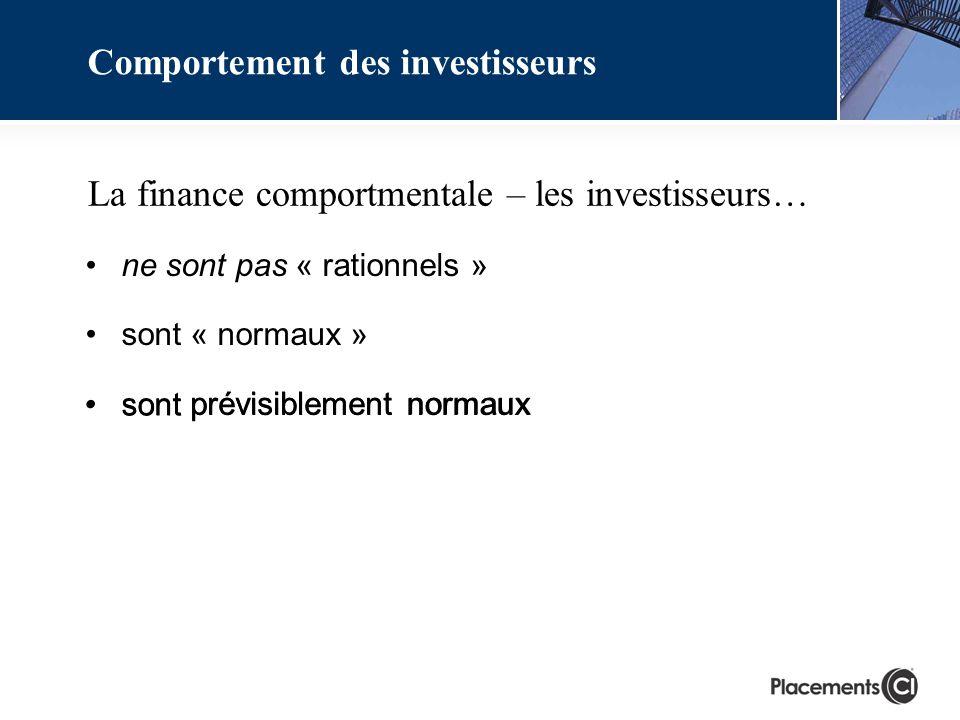 La finance comportmentale – les investisseurs… Comportement des investisseurs ne sont pas « rationnels » sont « normaux » sont prévisiblement normaux normaux prévisiblement sont