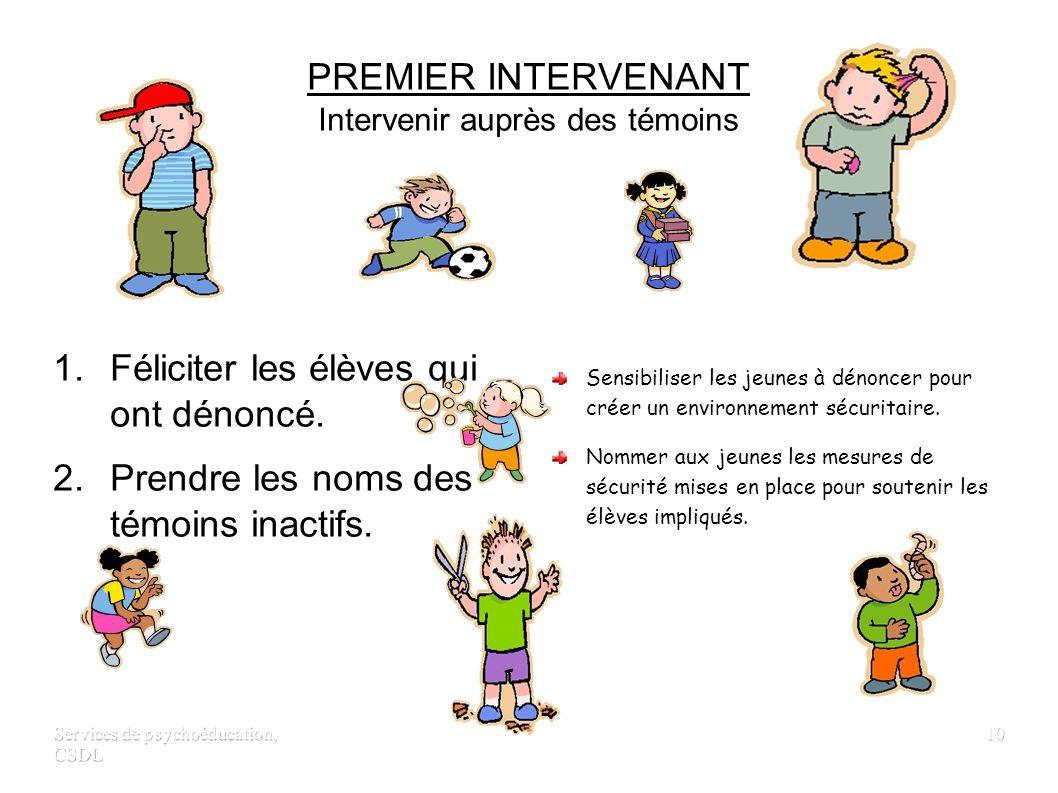 Services de psychoéducation, CSDL 9 PREMIER INTERVENANT Intervenir auprès de l'intimidateur 1. Envoyer les élèves responsables de l'intimidation dans