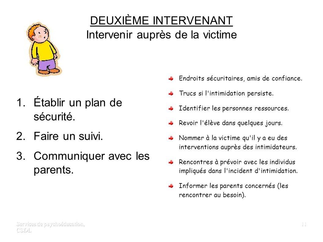 Services de psychoéducation, CSDL 10 PREMIER INTERVENANT Intervenir auprès des témoins 1.