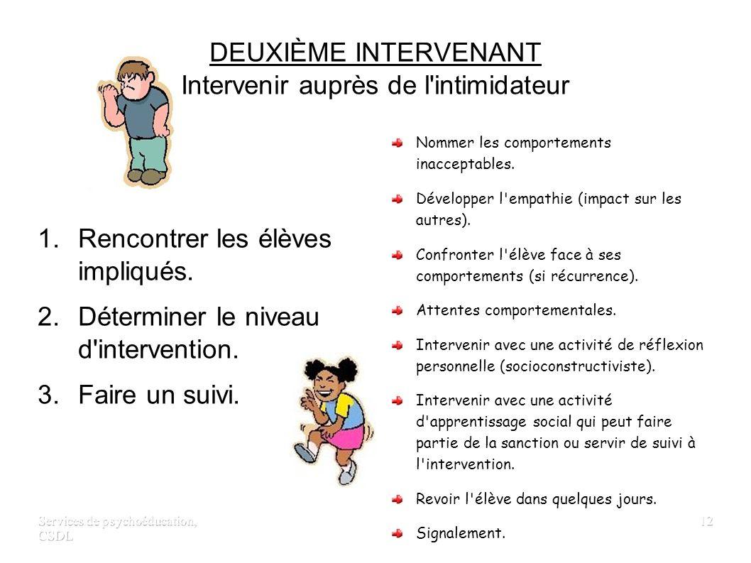 Services de psychoéducation, CSDL 11 DEUXIÈME INTERVENANT Intervenir auprès de la victime 1. Établir un plan de sécurité. 2. Faire un suivi. 3. Commun