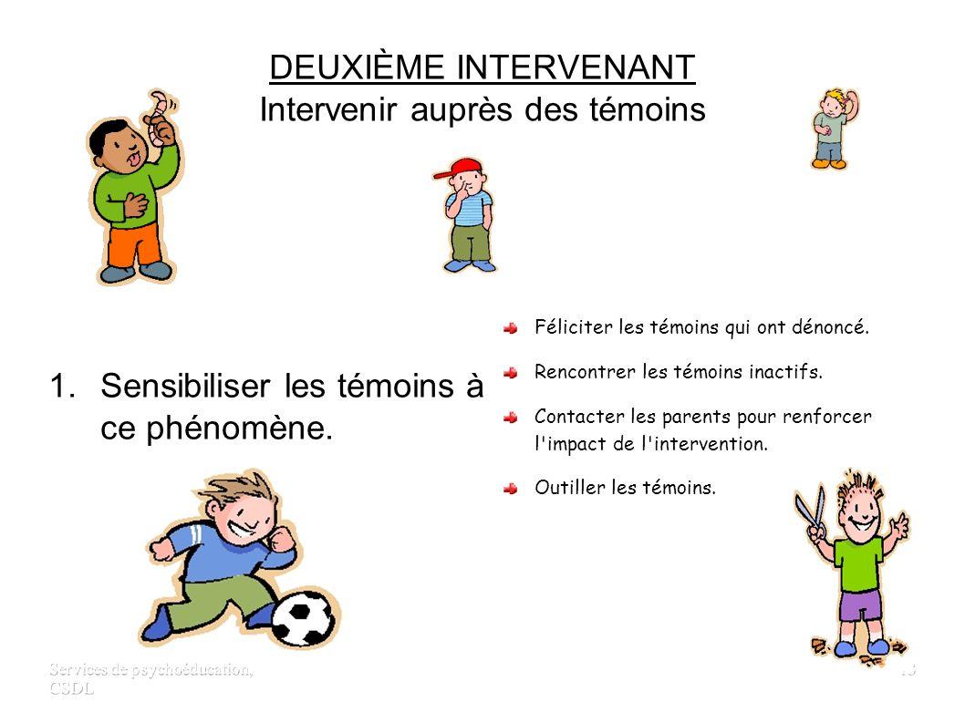 Services de psychoéducation, CSDL 12 DEUXIÈME INTERVENANT Intervenir auprès de l'intimidateur 1. Rencontrer les élèves impliqués. 2. Déterminer le niv