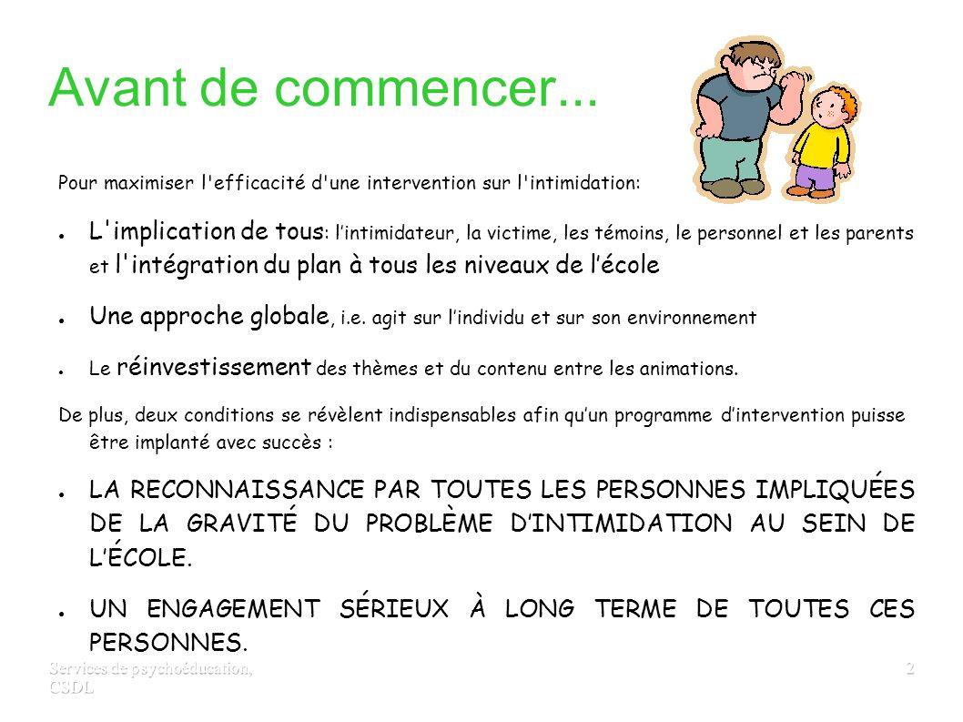 Services de psychoéducation, CSDL 12 DEUXIÈME INTERVENANT Intervenir auprès de l intimidateur 1.