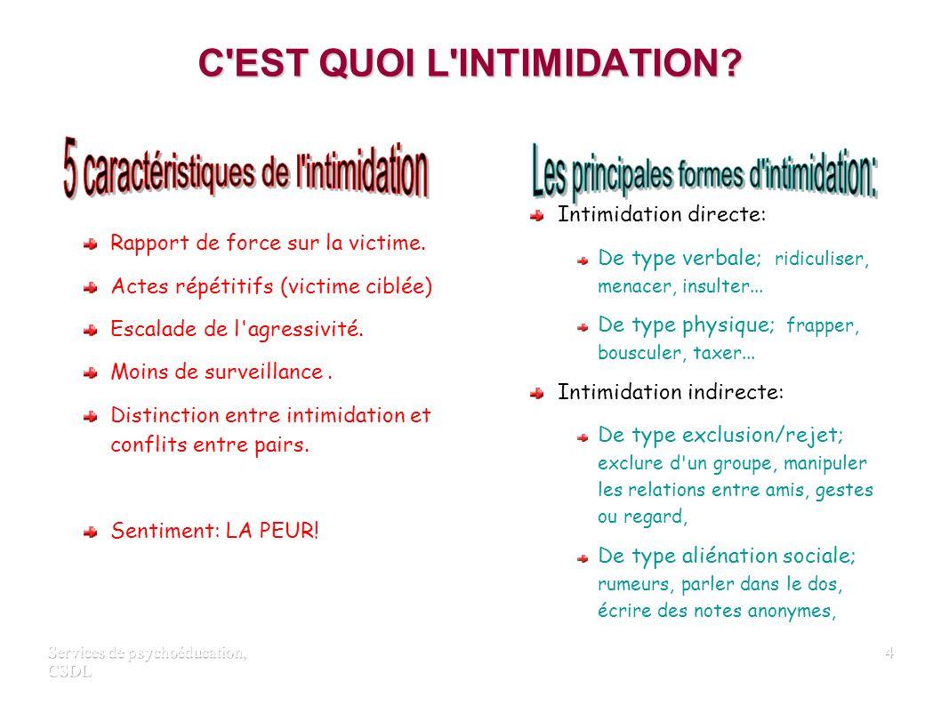 Services de psychoéducation, CSDL 3 Modalités de l'intervention
