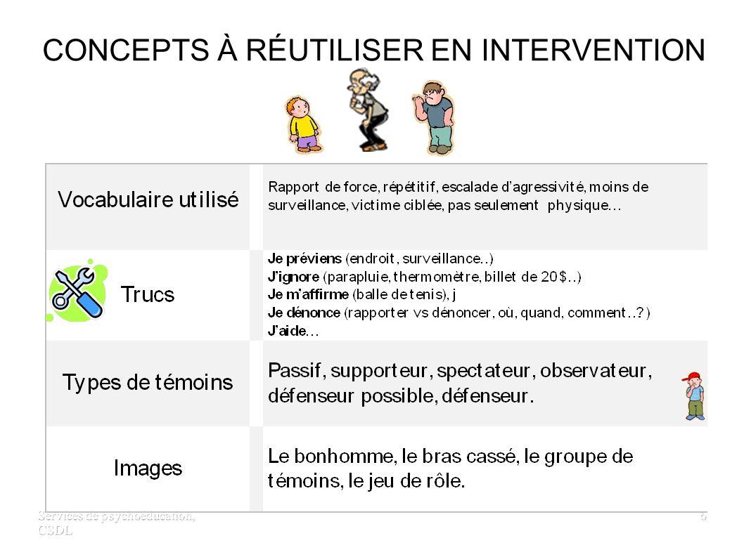 Services de psychoéducation, CSDL 6 CONCEPTS À RÉUTILISER EN INTERVENTION