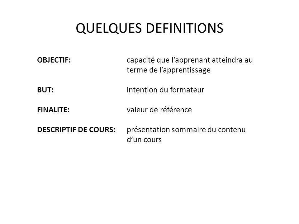 QUELQUES DEFINITIONS OBJECTIF:capacité que lapprenant atteindra au terme de lapprentissage BUT:intention du formateur FINALITE:valeur de référence DES
