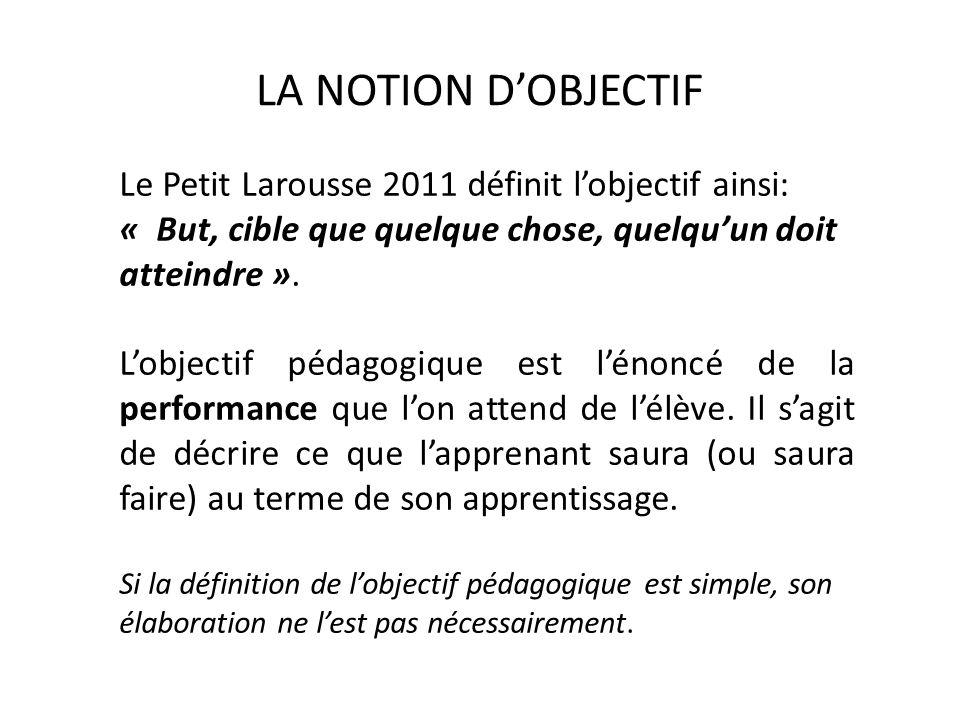 LA NOTION DOBJECTIF Le Petit Larousse 2011 définit lobjectif ainsi: « But, cible que quelque chose, quelquun doit atteindre ». Lobjectif pédagogique e