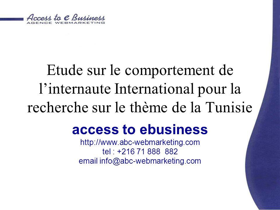 Objectifs Etude du comportement de linternaute International à la recherche dinformation thématique sur la Tunisie.
