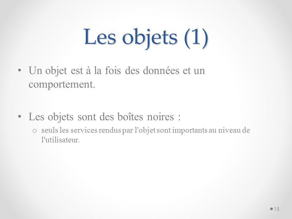 Les concepts de base Orienté objet : o organisation du logiciel comme une collection d objets comprenant à la fois une structure de données et un comp