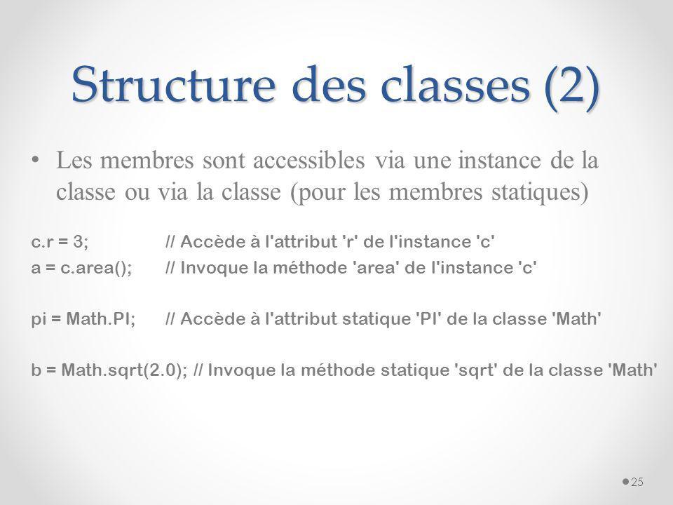 Structure des classes (1) Une classe est un agrégat d'attributs et de méthodes appelés les membres class nom_classe { type nom_attribut; … type nom_me