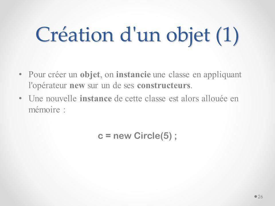 Structure des classes(2) Les membres sont accessibles via une instance de la classe ou via la classe (pour les membres statiques) c.r = 3; // Accède à