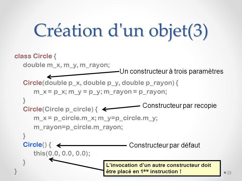 Création d un objet (2) Un constructeur est une méthode qui a pour objectif d initialiser l objet en cours de création. Cette méthode a pour nom le no