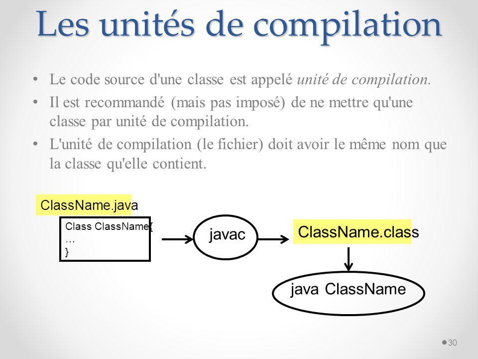 Initialisation(2) L initialisation des variables et des attributs peut être spécifié lors de leur définition. int i=1; class C { int p=3; … } 29