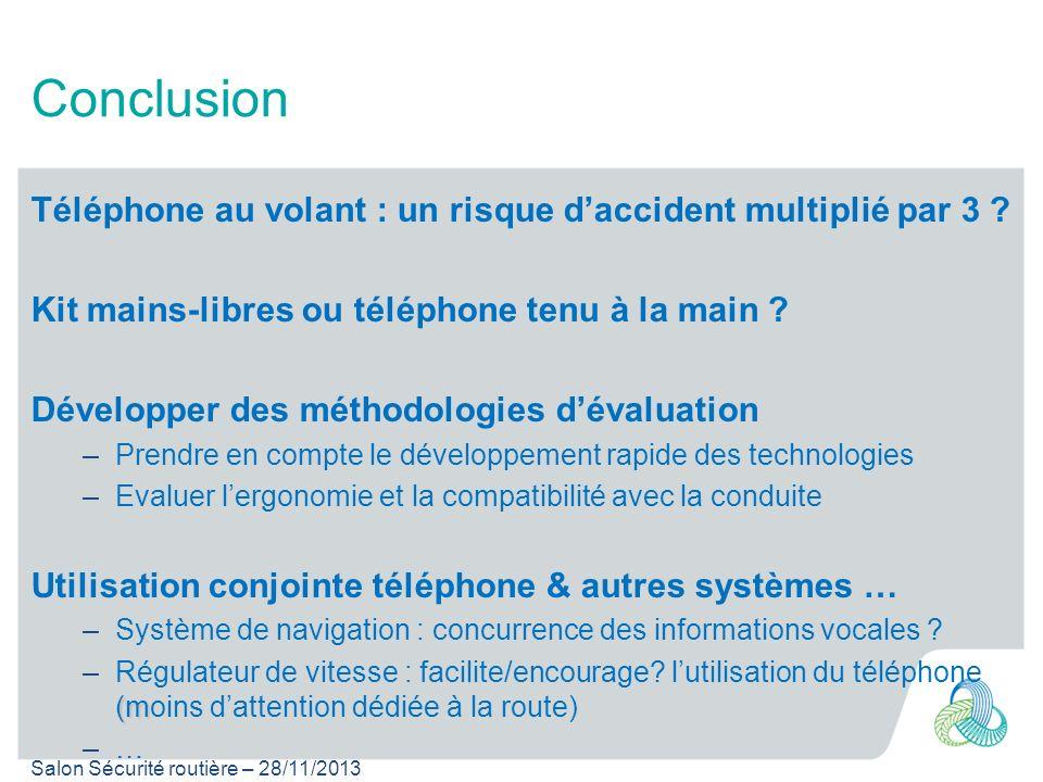 Salon Sécurité routière – 28/11/2013 Conclusion Téléphone au volant : un risque daccident multiplié par 3 ? Kit mains-libres ou téléphone tenu à la ma