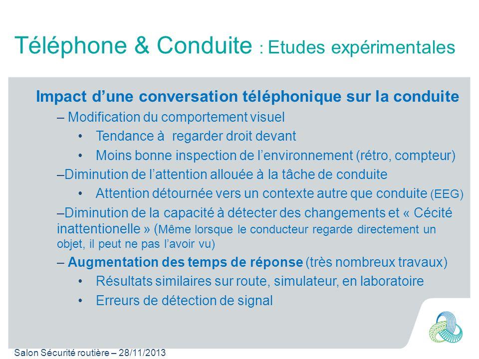 Salon Sécurité routière – 28/11/2013 Téléphone & Conduite : Etudes expérimentales Impact dune conversation téléphonique sur la conduite – Modification