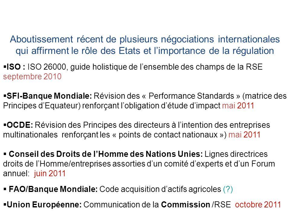 Aboutissement récent de plusieurs négociations internationales qui affirment le rôle des Etats et limportance de la régulation ISO : ISO 26000, guide