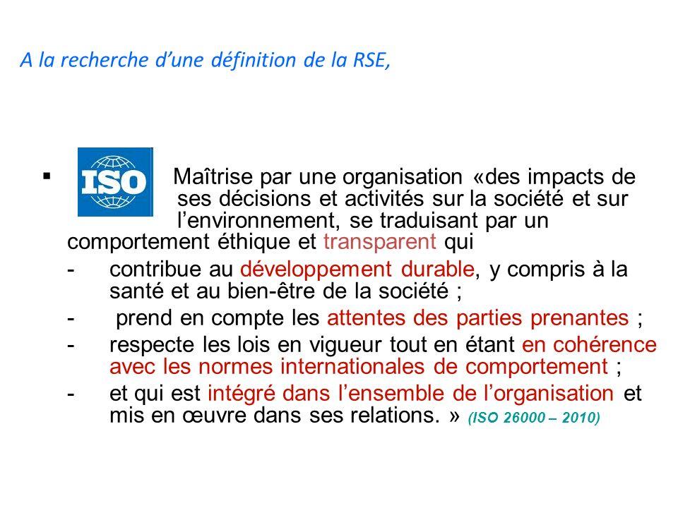 A la recherche dune définition de la RSE, Maîtrise par une organisation «des impacts de ses décisions et activités sur la société et sur lenvironnemen