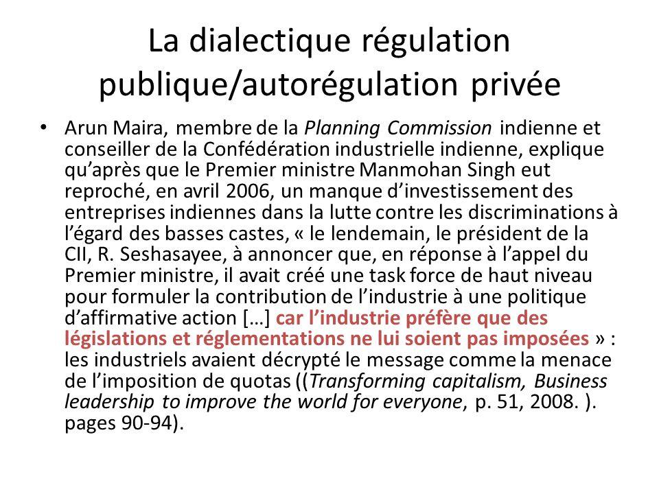 La dialectique régulation publique/autorégulation privée Arun Maira, membre de la Planning Commission indienne et conseiller de la Confédération indus