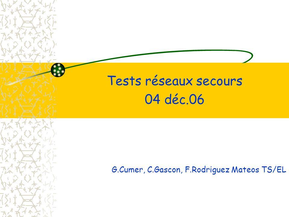 Tests réseaux secours 04 déc.06 G.Cumer, C.Gascon, F.Rodriguez Mateos TS/EL