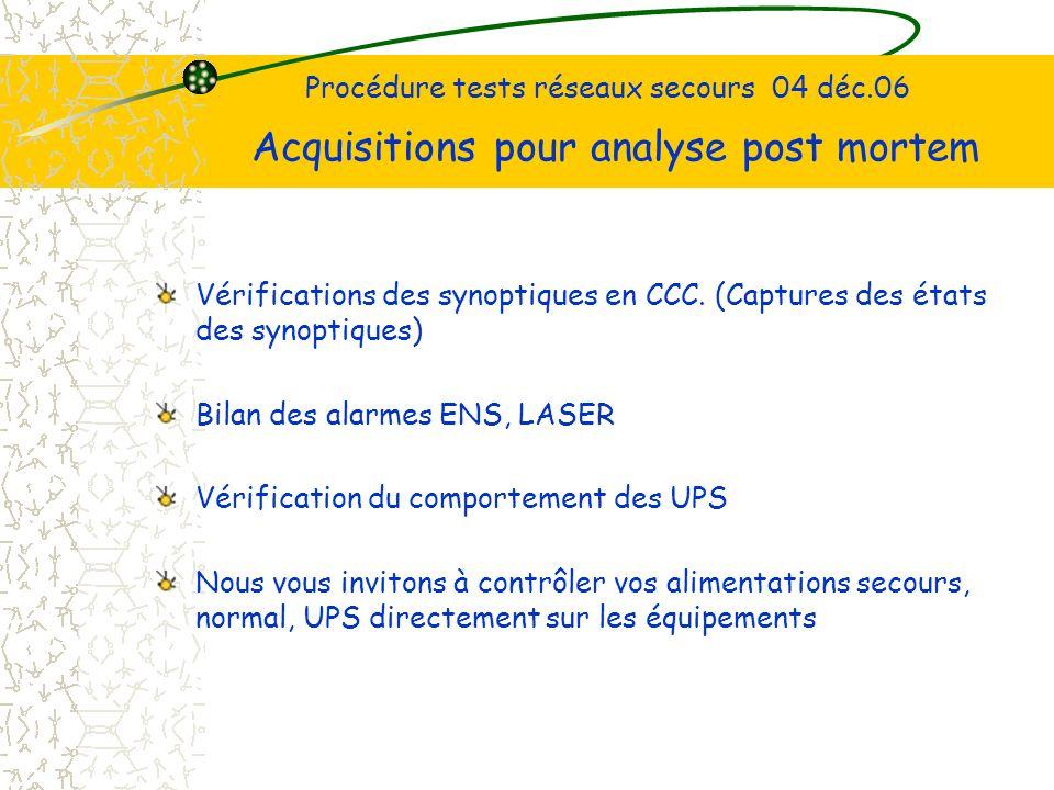 Procédure tests réseaux secours 04 déc.06 Acquisitions pour analyse post mortem Vérifications des synoptiques en CCC.