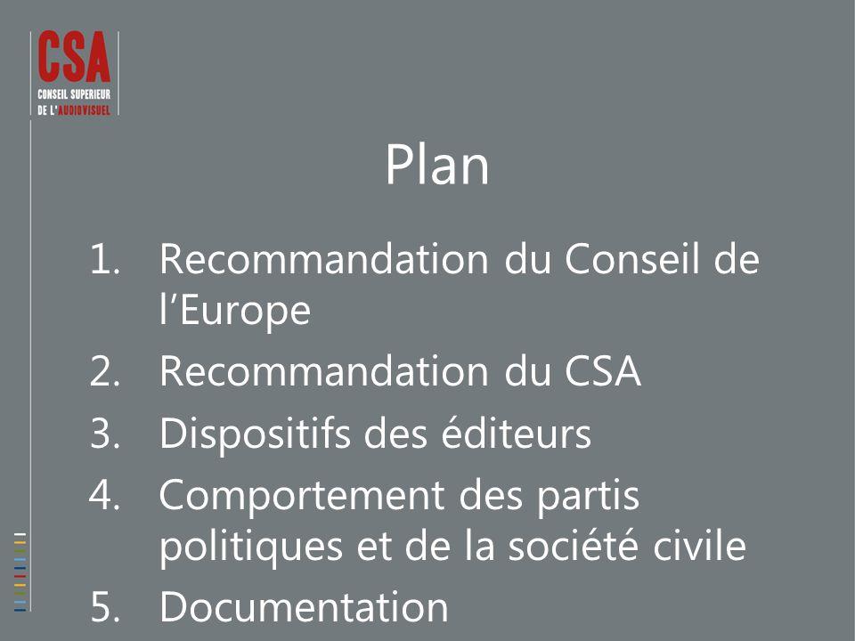 Plan 1.Recommandation du Conseil de lEurope 2.Recommandation du CSA 3.Dispositifs des éditeurs 4.Comportement des partis politiques et de la société civile 5.Documentation