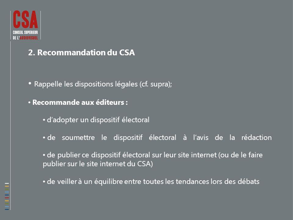 2. Recommandation du CSA Rappelle les dispositions légales (cf.