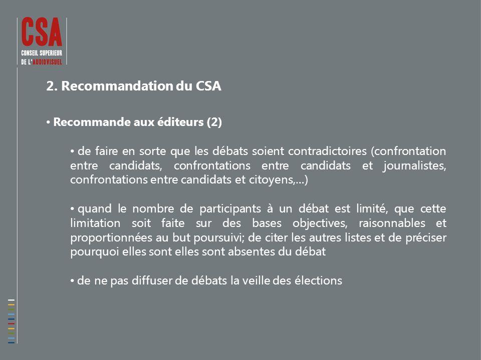 2. Recommandation du CSA Recommande aux éditeurs (2) de faire en sorte que les débats soient contradictoires (confrontation entre candidats, confronta