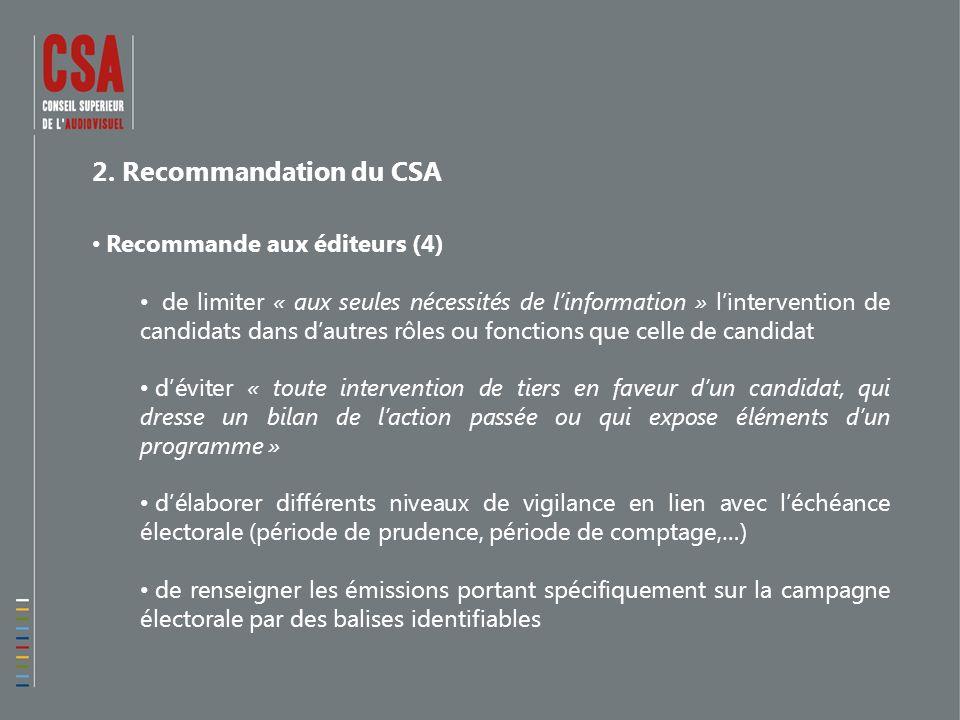 2. Recommandation du CSA Recommande aux éditeurs (4) de limiter « aux seules nécessités de linformation » lintervention de candidats dans dautres rôle