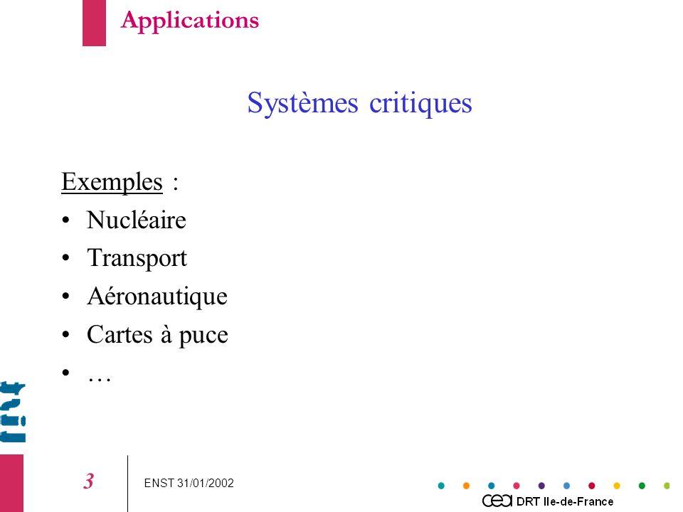 ENST 31/01/2002 3 Systèmes critiques Exemples : Nucléaire Transport Aéronautique Cartes à puce … Applications