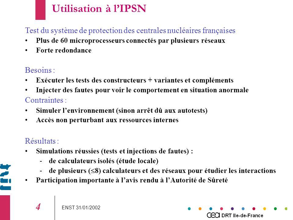 ENST 31/01/2002 4 Test du système de protection des centrales nucléaires françaises Plus de 60 microprocesseurs connectés par plusieurs réseaux Forte