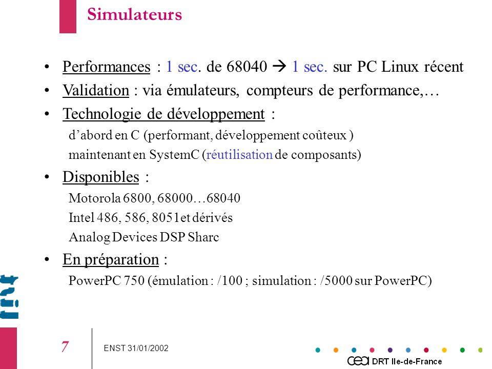 ENST 31/01/2002 8 Génération de tests Environnement Application Oracle es v Assertions sur lenvironnement Modèle Objectif de test e s v True LUSTRELUSTRE CLAIRECLAIRE GATeL traducteur