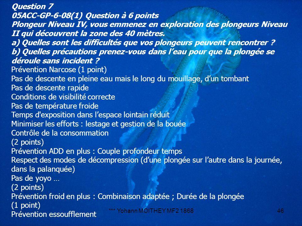 *** Yohann MOITHEY MF2 186846 Question 7 05ACC-GP-6-08(1) Question à 6 points Plongeur Niveau IV, vous emmenez en exploration des plongeurs Niveau II
