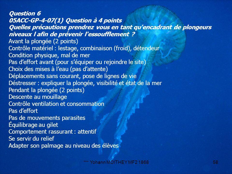 *** Yohann MOITHEY MF2 186858 Question 6 05ACC-GP-4-07(1) Question à 4 points Quelles précautions prendrez vous en tant qu'encadrant de plongeurs nive