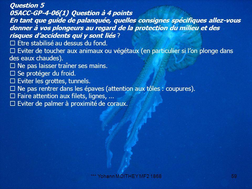 *** Yohann MOITHEY MF2 186859 Question 5 05ACC-GP-4-06(1) Question à 4 points En tant que guide de palanquée, quelles consignes spécifiques allez-vous