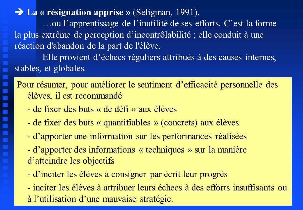 La « résignation apprise » (Seligman, 1991). …ou lapprentissage de linutilité de ses efforts. Cest la forme la plus extrême de perception dincontrôlab
