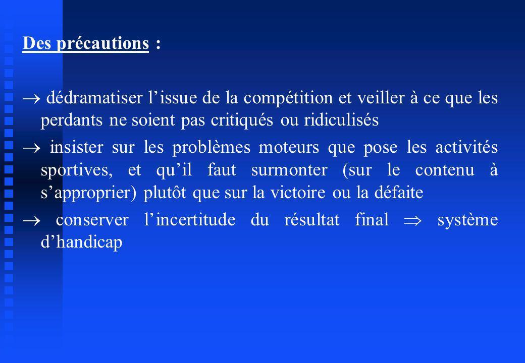 Des précautions : dédramatiser lissue de la compétition et veiller à ce que les perdants ne soient pas critiqués ou ridiculisés insister sur les probl
