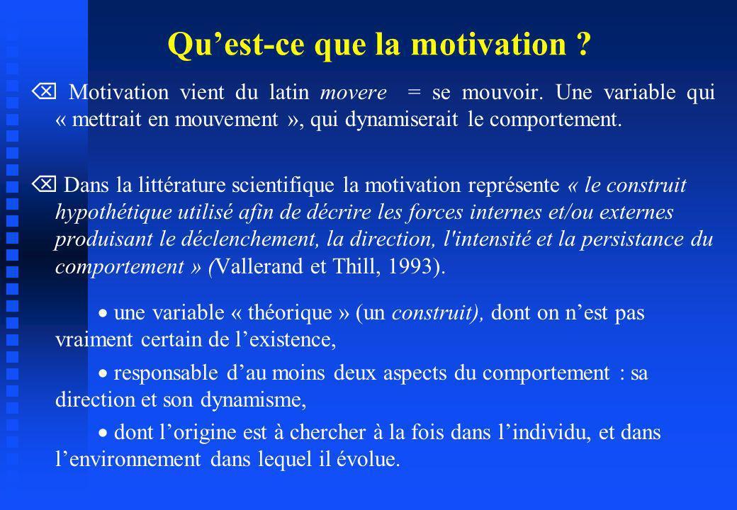 Motivation vient du latin movere = se mouvoir. Une variable qui « mettrait en mouvement », qui dynamiserait le comportement. Dans la littérature scien