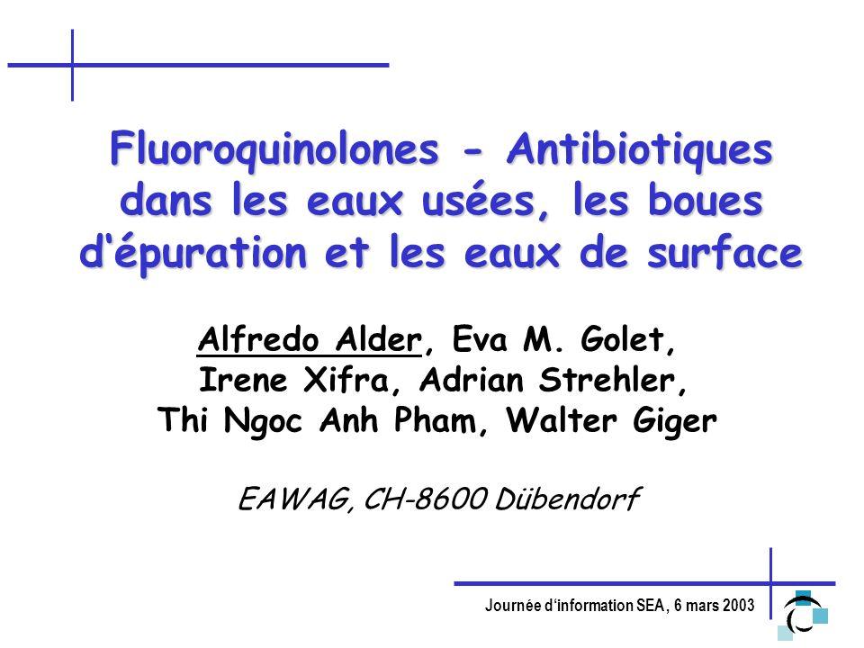 Journée dinformation SEA, 6 mars 2003 Importance pour lenvironnement - 2 Propriétés physico-chimiques: -Pk COOH : 6-7; pK NH2 : 8-10 molécule portante une charge positive et négative à pH neutre -log K ow : -1.03 - 0.28 -log K d (boues): 4.3 L/Kg (CIP) Adsorption élevée Comportement dans lenvironnement: - non dégradable par les bactéries - photodégradable