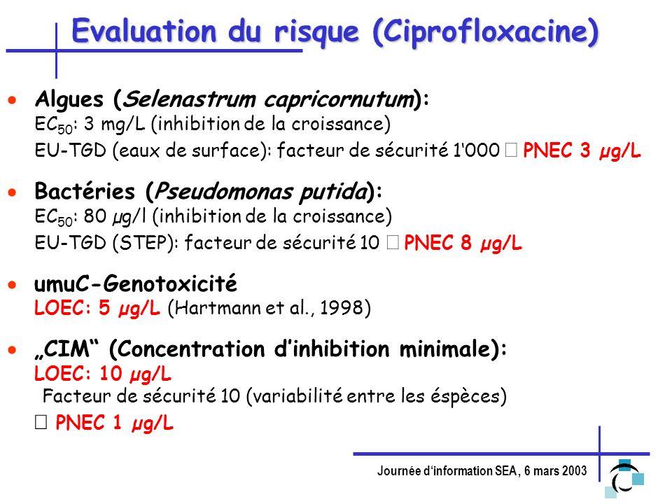 Journée dinformation SEA, 6 mars 2003 Evaluation du risque (Ciprofloxacine) Algues (Selenastrum capricornutum): EC 50 : 3 mg/L (inhibition de la crois
