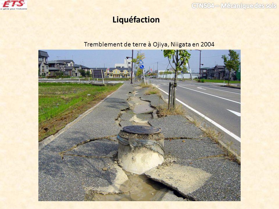 Liquéfaction Tremblement de terre à Ojiya, Niigata en 2004