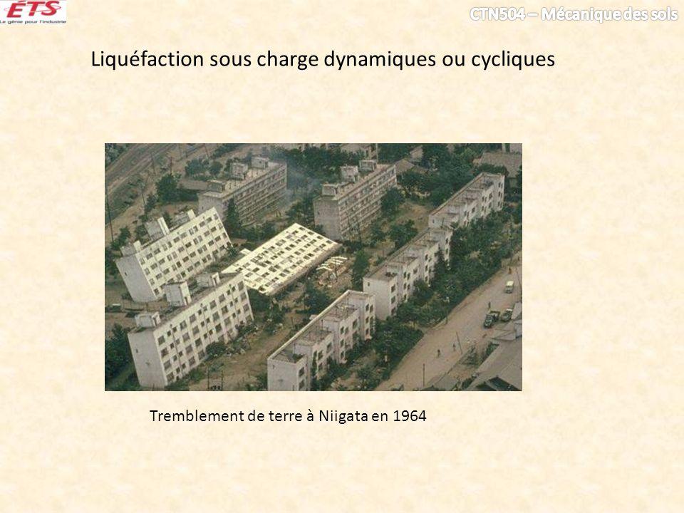 Liquéfaction sous charge dynamiques ou cycliques Tremblement de terre à Niigata en 1964