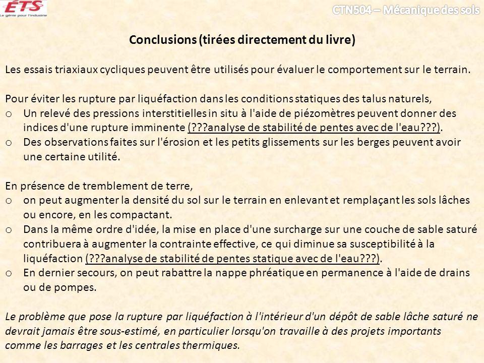 Conclusions (tirées directement du livre) Les essais triaxiaux cycliques peuvent être utilisés pour évaluer le comportement sur le terrain. Pour évite