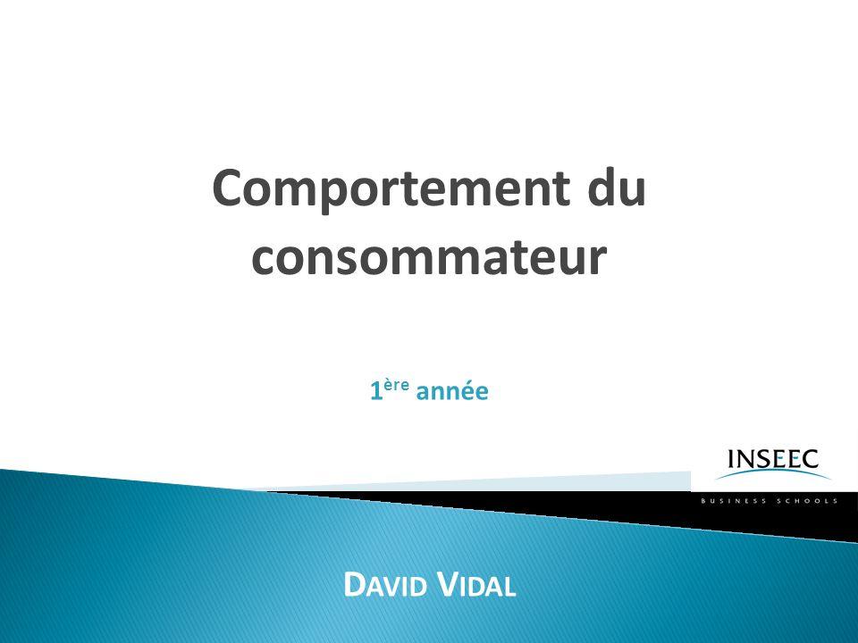 Comportement du consommateur D AVID V IDAL 1 ère année