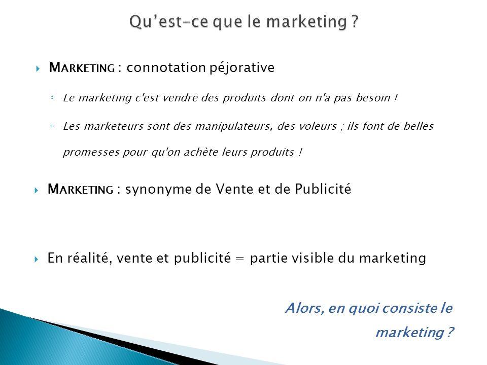 M ARKETING : connotation péjorative Le marketing c'est vendre des produits dont on n'a pas besoin ! Les marketeurs sont des manipulateurs, des voleurs