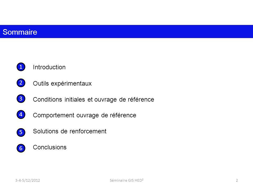 Introduction Outils expérimentaux Conditions initiales et ouvrage de référence Comportement ouvrage de référence Solutions de renforcement Conclusions Sommaire 1 2 3 4 5 3-4-5/12/20122Séminaire GIS HED² 6