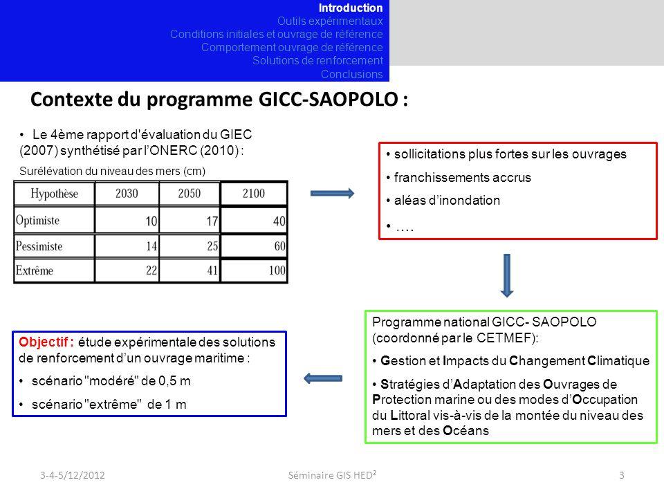 Contexte du programme GICC-SAOPOLO : Le 4ème rapport d évaluation du GIEC (2007) synthétisé par lONERC (2010) : Surélévation du niveau des mers (cm) sollicitations plus fortes sur les ouvrages franchissements accrus aléas dinondation ….