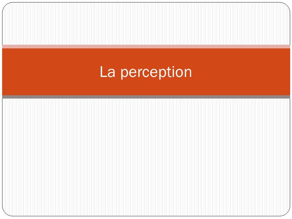 Définition La perception est le processus par lequel lindividu organise et interprète ses impressions sensorielles de façon à donner un sens à son environnement.